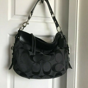 COACH ZOE Canvas BLACK HOBO Bag